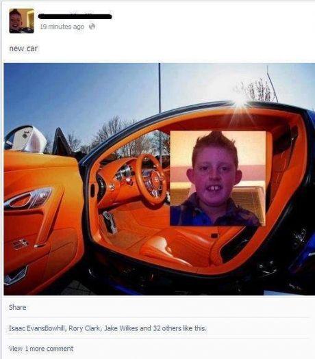funny kid bugatti photoshop