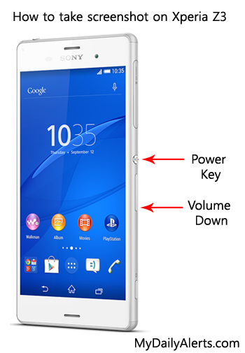 how to screenshot on a sony xperia reset