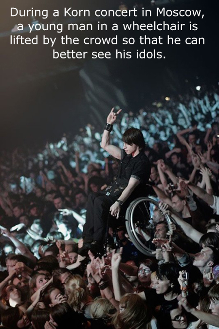 wheelchair guy lifted in concert